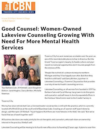 Lakeview Counseling therapists were interviewed by the Traverse City Business News.